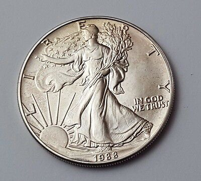 U.s.a - Dated 1988 - Silver - Eagle - $1 One Dollar Coin - American Silver Coin