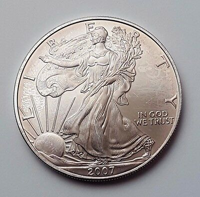 U.s.a - Dated 2007 - Silver - Eagle - $1 One Dollar Coin - American Silver Coin