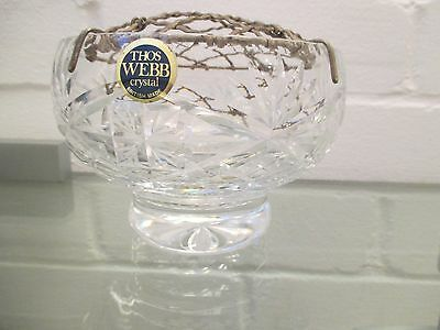 Webb cut crystal glass rose bowl with mesh top labelled and backstamped