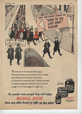 1948 Maxwell House Parade of Coffee Vintage Art Print Ad