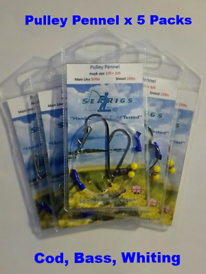 Sea Fishing Rigs, 2 Hook Pulley (Pennel) 1/0 + 1/0 Cod & Bass x 5 Packs
