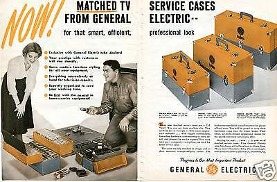 1957 GE General Electric TV Service Tube Cases 2 Page Print Ad