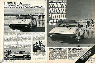 1981 Print Ad of Triumph TR7 on the beach 2 DIFFERENT ADS