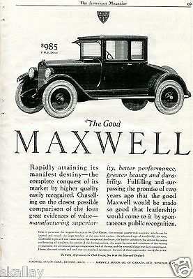 1923 Print Ad of The Good Maxwell Club Coupe Car