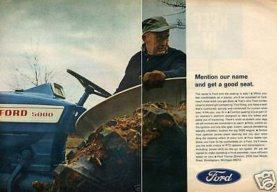 1967 Ford 5000 2 Page Farm Tractor Print Ad