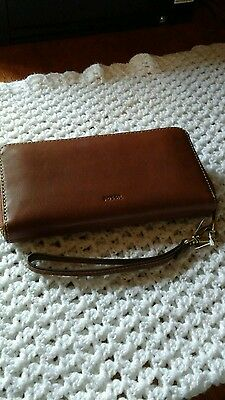 Fossil Emma RFID Large Leather Zip Clutch Wristlet *Brown* - Nwt's