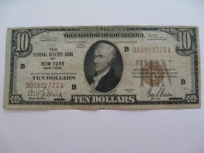 1929 Series $10 Dollar Bill  Bank of New York United States Currency Circulated
