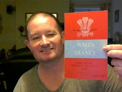 Wales V France Rugby Programme 24.03.1962  Very Rare Free Uk Post