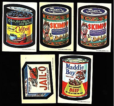 1973 Topps Wacky Packages 1St Series Lot 5 White Back Skimpy Maddie Boy Vg-Ex