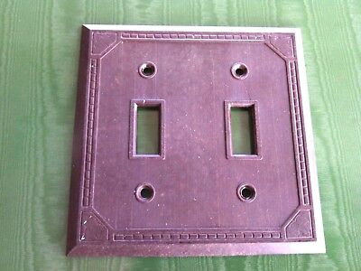 Vintage Brown Bakelite Double Light Switch Cover Wall Plate Cat # 5942 Toggle