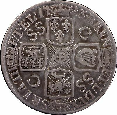1723 George I Shilling SSC in angles French arms at date