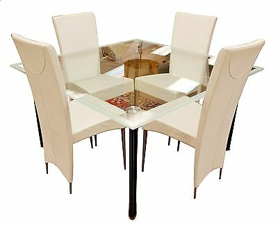 Contemporary Modern Italian Cattelan Glass Dining Table & 4 Leather Chairs