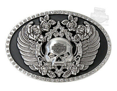 Harley-Davidson Womens Willie G Skull Wings with Rhinestones Buckle by LODIS