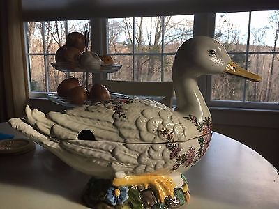 Large Ceramic Goose Tureen Centerpiece - Hand Painted Italy