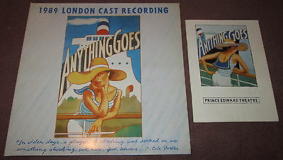 """""""Anything Goes"""" London cast LP from 1989 plus Prince Edward Theatre programme"""