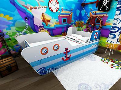 Kids Toddler Bed Frame with mattress Power boat  140 x 70 cm