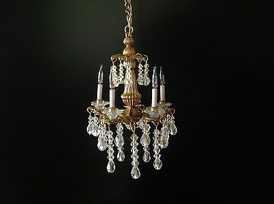 Dollhouse Miniature Handcrafted 5 Arm Crystal Chandelier 12V 1:12 Scale