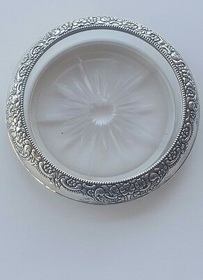 Frank M. Whiting & Co. Sterling Silver & Glass Wine Bottle Coaster Floral Design