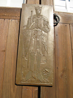 RARE Vintage knight in armour graveslab relief Bletchley c.1950s Rosslyn Chapel?