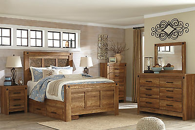 CYPRESS - 5pcs Brown Traditional Cottage Styled Panel Storage King Bedroom Set