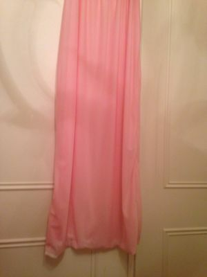 """Vintage Nylon Slippery Silky Sheer Long Nightie Pink Size W 12-14 Up To 38""""chest"""