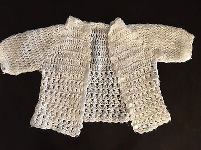 Vintage 1970 Hand Crochet Baby Sweater White with Pink Roses and Buttons