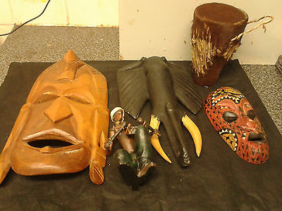 African Tribal Masks African Lady And Bongos