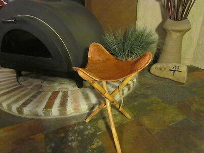 Vintage Mid Century Mexican Stool Chair Hand Tooled Mexico