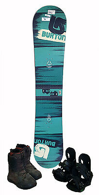 Burton LTR Snowboard 144 cm with Boots & Bindings Green/Black - USED