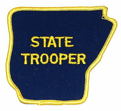 """ARKANSAS - STATE TROOPER - AR Police Sheriff Patch  - STATE SHAPE - 3.5"""" ~"""