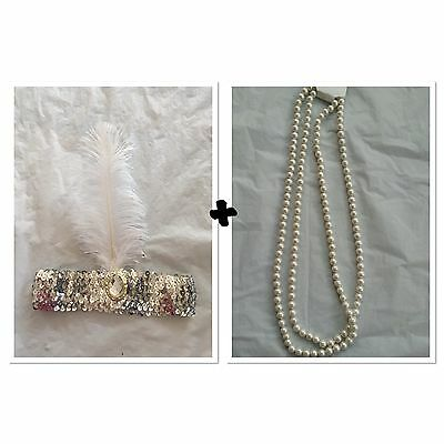 1920s Charleston Flapper Fancy Set White Sequin Headband And Pearl Necklace