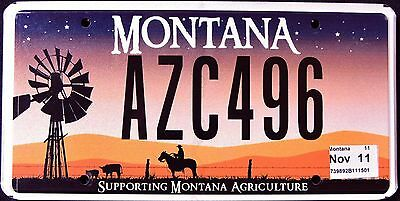 """MONTANA """" AGRICULTURE - WINDMILL -  COWBOY """" MT Graphic License Plate"""