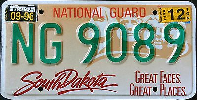 """SOUTH DAKOTA 1996 NATIONAL GUARD GREAT FACES """" SD Military Graphic License Plate"""