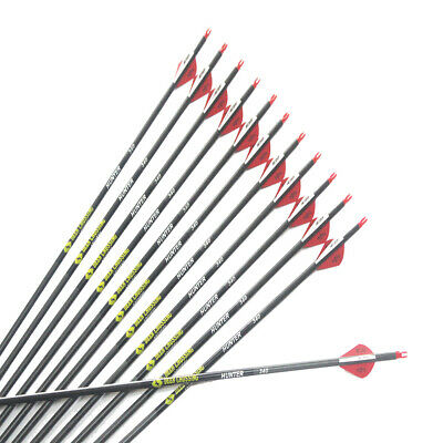 """12Pcs 30"""" Carbon arrow spine340 with 2""""blazer vane for compound bow hunting"""