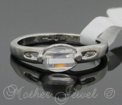 Glamorous Gift Clear Rare Cut Cz Silver Plated Ladies Girls Dress Ring Size 7.5