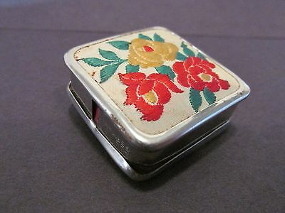 Vintage Square Pill Box-??? With Silk Floral Material Top Design,collectible