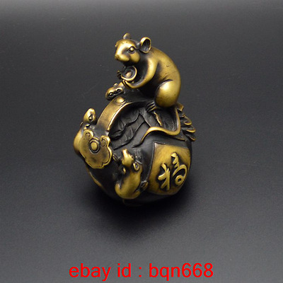 Old China Fengshui Bronze Lifelike Rat Ruyi Coins Wealth Auspicious Statue