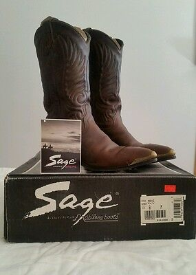 Abilene 3515 Womens Sage Western Distressed Leather Cowboy Boots BROWN 8M