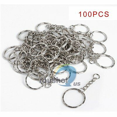 100Pcs Wholesale 25mm DIY Key Rings Key Chain With Link Chain Key Holder【US】