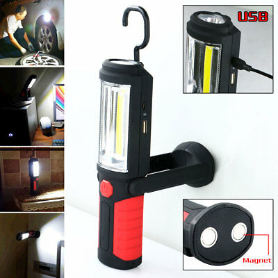 COB LED Magnetic Rechargeable 360° Inspection Work Light Hand Torch Lamp W/Hook