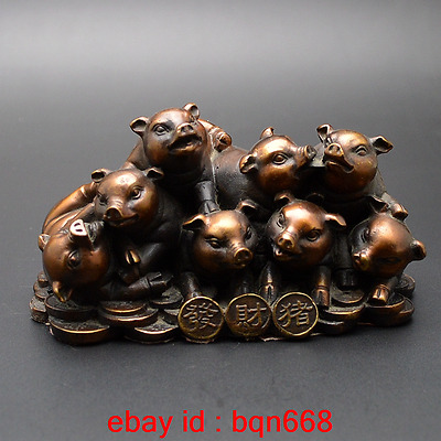 Old China Fengshui Bronze Eight Little Pigs Decoration Wealth Statue