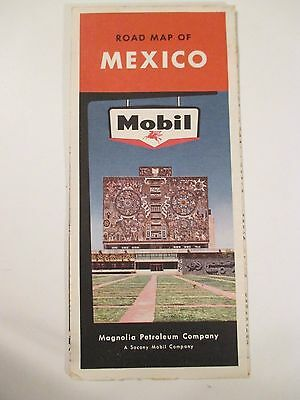 Vintage MOBIL MEXICO Oil Gas Service Station Travel Road Map