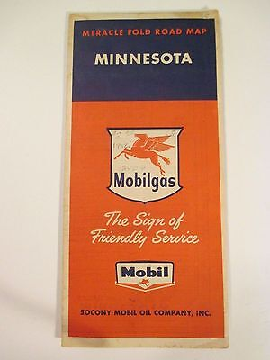Vintage MOBILGAS MINNESOTA Oil Gas Service Station Road Map~1956 Estimate