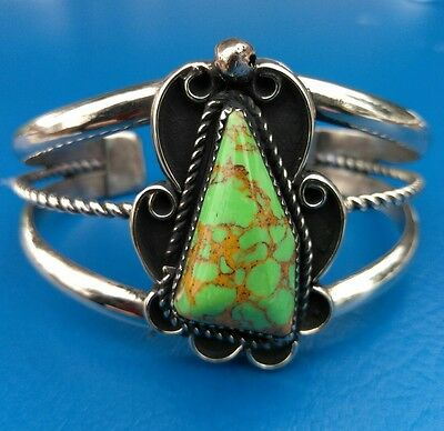 Navajo Silver and Turquoise Bracelet/Cuff Native American Signed *636