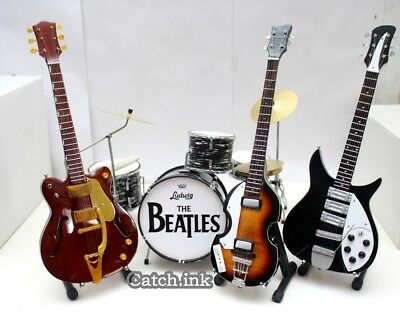 The Beatles Musical Instrument Set (Guitar,bass,drum) Miniature For Display Only