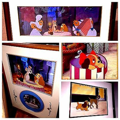 Disney Lady And The Tramp Rare 4 Cel Set Animation Art edition Cell Bella Notte