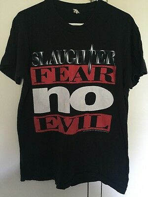 Slaughter Vintage Fear No Evil US Tour 1995 T-shirt, Rock N Roll Hair Metal Rare