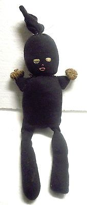 African American Old Ca. 30's-50's Sock Stocking Doll Stitched Face