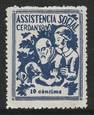 Spanish Civil War - Social Assistance  Cerdanyola 10 cents Stamp – MH