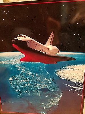 "VINTAGE Rare Space Shuttle DISCOVERY 1990 ORIGINAL Poster ""Shuttle Glows Home"""